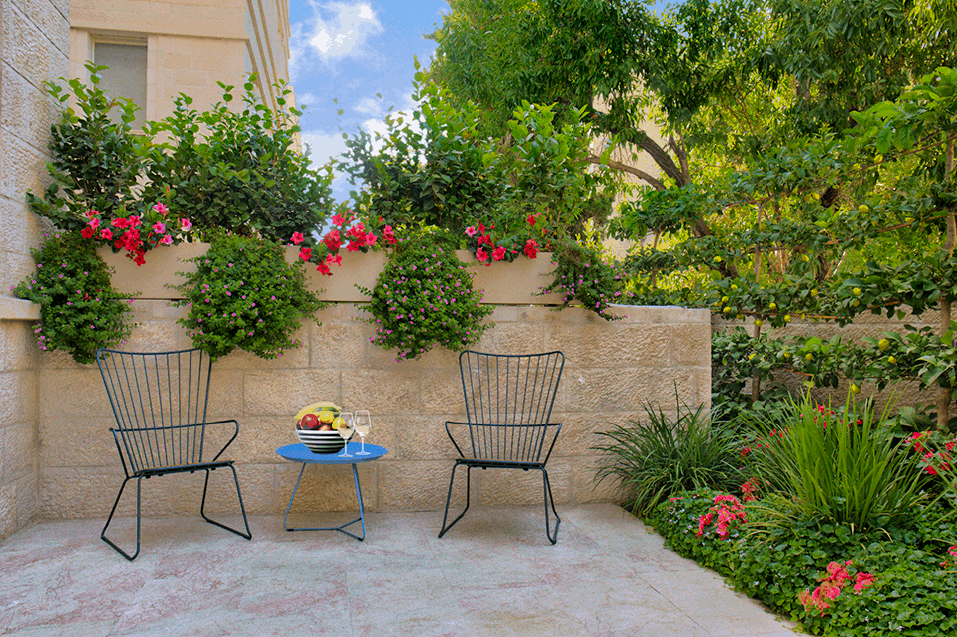 green outdoor sitting area in baka
