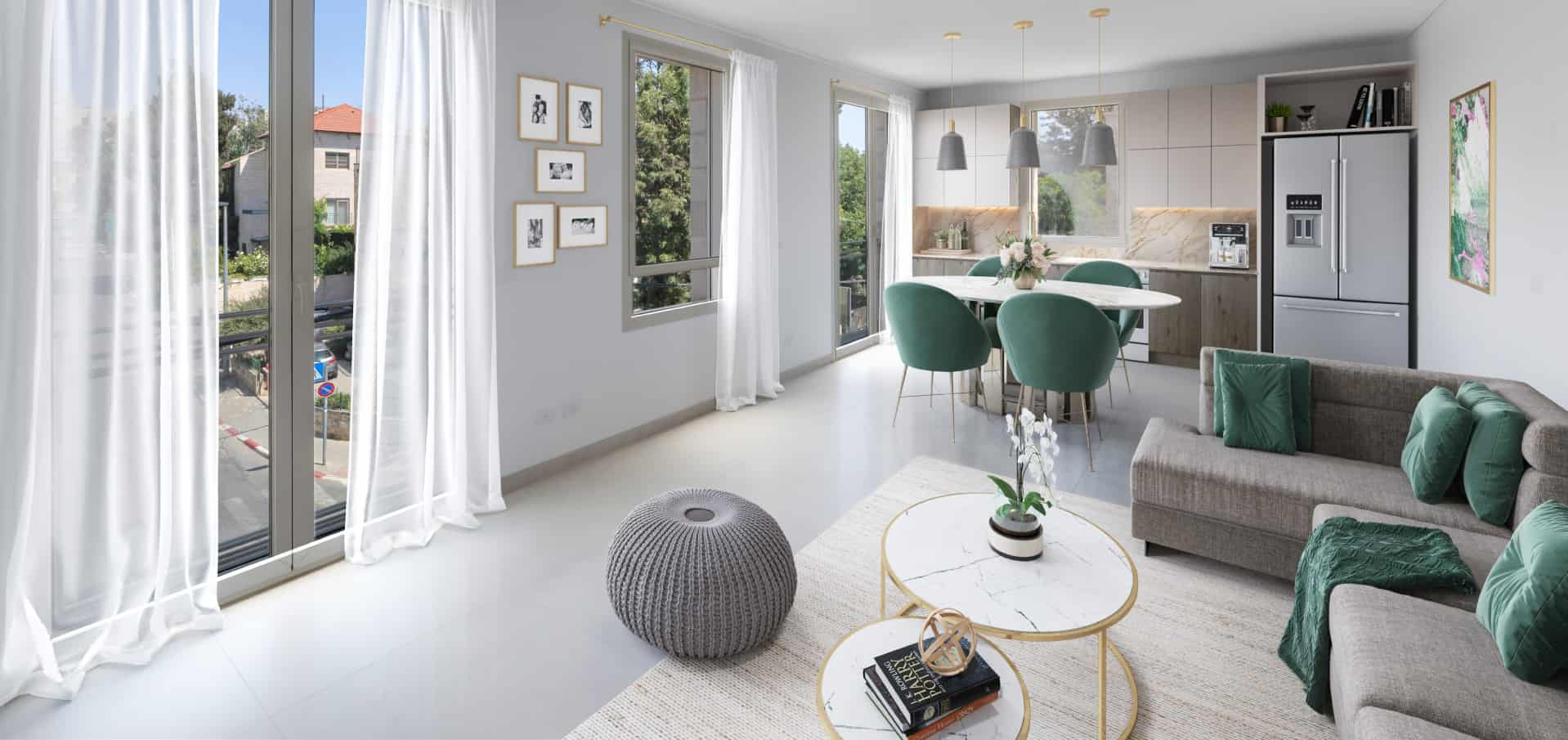 white and green luxury apartment design jerusalem