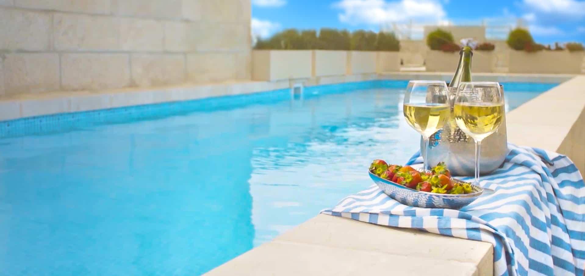 marble pool in luxury apartment jerusalem