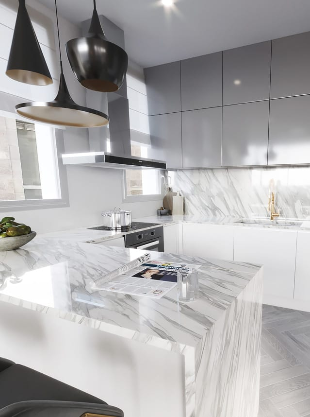white luxury kitchen design in jerusalem