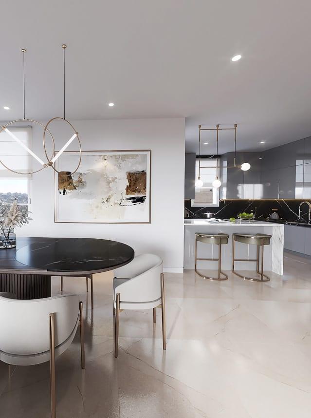 black and white living room kitchen jerusalem